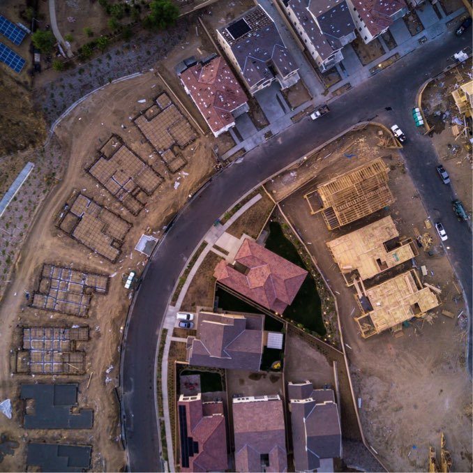 Aerial view of neighborhood construction
